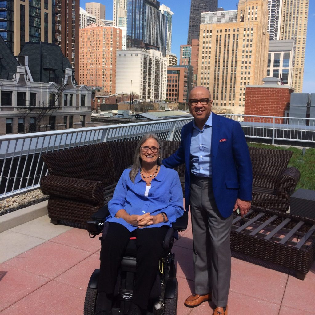 Access Living CEO Marca Bristo with President of the Ford Foundation Darren Walker