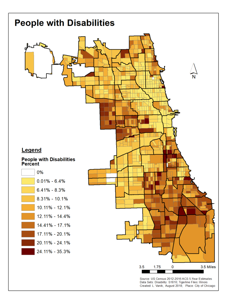 Image is of a color-coded map of chicago, with different colors indicating the number of people with disabilities in various Chicago neighborhoods.
