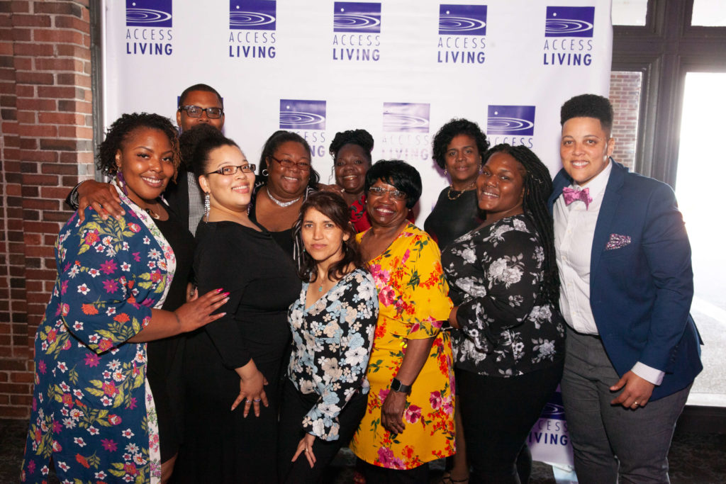 Guests pose for a group shot at Access Living's 2019 Gala.