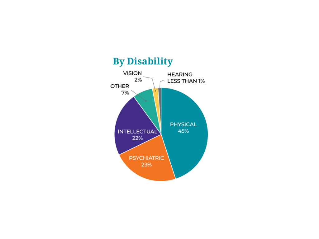 A pie chart of Access Living FY2019 consumers by disability.
