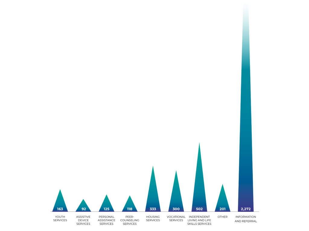 A graph representing the number of disabled people who received services from Access Living, and the types of services they received.