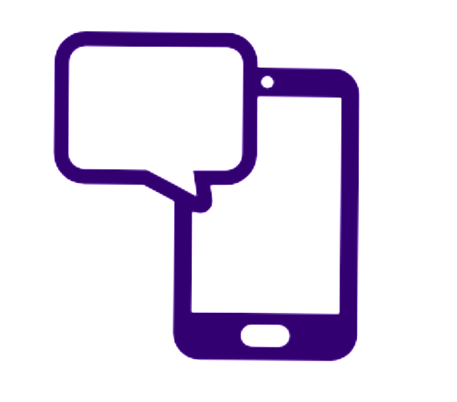 Icon of a cellphone with a speech bubble.