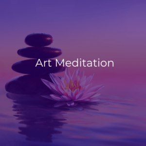 """A pile of stones and a lotus flower surrounded by calm, clear water. White text reads """"Art meditation""""."""
